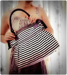 SALE - 10% OFF - Tote Bags Women handbag, Black white diaper bag, travel bag, school bag