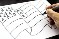 How To Draw The American Flag - Art For Kids Hub - : How to draw The American Flag American Flag Drawing, American Flag Painting, American Flag Wall Art, American Art, Art For Kids Hub, Art Hub, Patriotic Crafts, Patriotic Party, July Crafts