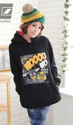 Cartoon Long Sleeve Loose Hood Women Black Cotton Hoodie One Size @FZ81689b