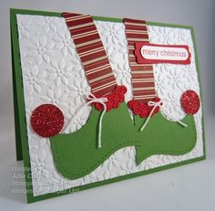 Christmas elf shoes-top note die- stampin' up