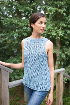 """Airy Lace Shell - Enjoy a warm spring or summer day in this light and lacy tank top  SKILL LEVEL:  Intermediate  SIZE: XS, Small, Medium, Large, 1X, 2X   Finished Chest 33 (36 1/2, 40, 43 1/2, 47, 50)""""; Cotton-Ease - 3 balls, H hook; free pdf from Lion Brand"""
