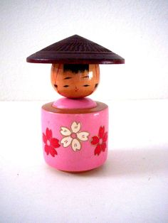 Vintage Pink KOKESHI Doll with Hat  Petite 4 by OmAgainVintage