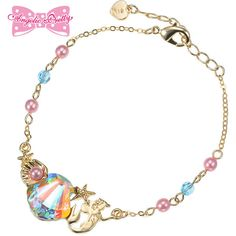 Disney Crystal Dream Mermaid Ariel & Flounder Bracelet | Lolibrary ($6.26) ❤ liked on Polyvore featuring jewelry, bracelets, disney jewellery, crystal jewelry, crystal bangles, disney jewelry and disney