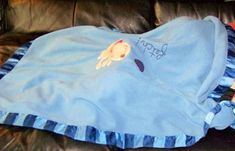 Searching – 2006? 2007? Koala Baby BLUE BABY BLANKET with STRIPED BINDING & DOG, BALL & FETCH Embroidery