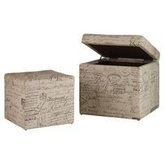 """""""2 Piece Joelle Nesting Ottomans"""" Love! Perfect for blankets or extra storage!"""