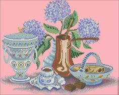 Купить Натюрморт с цветами - схема для вышивания бисером с полной зашивкой - схема вышивки цветы