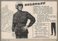 Belstaff's Trialmaster Advertisement- The Motor Cyclist Belstaff, Mad Men, Woven Fabric, Advertising, Suits, History, Alternative Style, Image, Style Icons