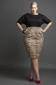 Leopard Skirt  Ponte' Knit, Boat Neck Crop Top with Dolman Sleeves (14-24) Black and Brown  High-Waist Faux Suede Leopard Print Pencil Skirt (lined) (14-24)