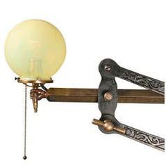 Adjustable Figural Hand Bracket Lamp with Straw Opal Shade, circa 1900