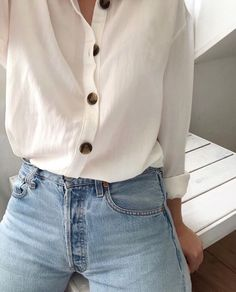 Best Spring Outfits Casual Part 34 Levis Vintage, Jean Vintage, Vintage Buttons, Mode Outfits, Casual Outfits, Fashion Outfits, Denim Outfits, Simple Outfits, Fashion Tips