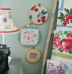 Embroidery hoop art tutorial--a great way to display swatches of favorite fabric (nice display in a sewing room)