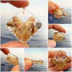 ilfilodelleidee: Ciondoli in resina con conchiglie di Caole e Jesolo - resin charm with shell