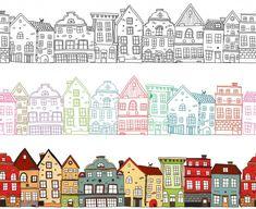 Illustration Design Plat, Building Illustration, House Illustration, Town Drawing, House Drawing, Clay Houses, Paper Houses, House Doodle, Monochrome