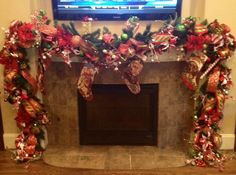 Christmas decorated garland candy cane theme.