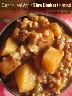 Caramelized Apple Slow Cooker Oatmeal - perfect for school mornings AND lazy days! NourishingJoy.com