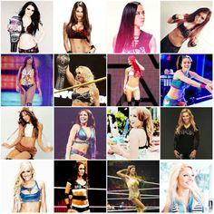 Paige Nikki Bella AJ Lee Carmella Naomi Charlotte Eva Marie Bayley Alicia Fox Layla Becky Natalya Summer Rae Brie Bella Rosa Mendes & Emma