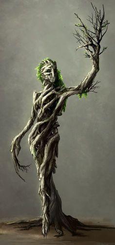 Dryad - MonsterSquad by Neverheidae on DeviantArt / tree creature / fantasy Fantasy World, Fantasy Art, Elves Fantasy, Fantasy Queen, Mythological Creatures, Drawing Mythical Creatures, Humanoid Mythical Creatures, Green Man, Magical Creatures