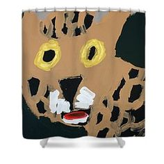 Patrick Francis Designer Shower Curtain featuring the painting Jaguar by Patrick Francis