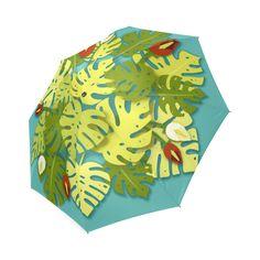 Tropical Floral Monstera Leaves Foldable Umbrella
