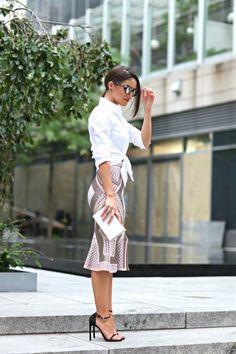 Gold And Rose Patterned Ruffle Hem Midi Skirt By Camila Coelho/2014