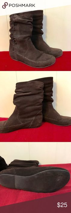 Chinese Laundry Boots Faux Leather Fringe Great condition used boots trendy faux leather from Chinese Laundry. Some fringe on side. Very cute for fall and winter!   Non smoking home Chinese Laundry Shoes Ankle Boots & Booties