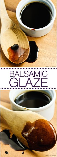 Glace de vinagre balsamico- Balsamic Glaze - Homemade balsamic glaze is so simple to make at home, and delicious on so many things! Junk Food, Sauce Recipes, Baking Recipes, Sauce Enchilada, Balsamic Glaze Recipes, Salsa Dulce, Sauces, Homemade Sauce, It Goes On
