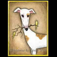 Original GREYHOUND DOG and CANARY aceo painting par SuzannesGallery