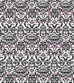 Keepsake Calico Fabric Chic Bebe Ornate Baroque White/Pink/Black, , hi-res
