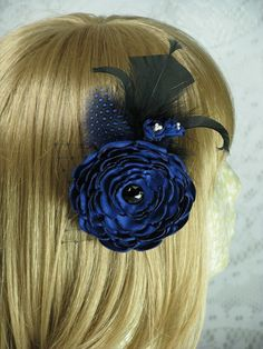 Royal Blue Feather Hair Clip/Brooch Bridal by EuphoriaRoad on Etsy, $18.00