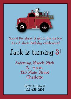 Firetruck birthday invitation -- firetruck firefighter birthday party -- custom invitation - You print or i print Third Birthday, 4th Birthday Parties, Boy Birthday, Birthday Ideas, Fireman Party, Firefighter Birthday, Custom Invitations, Birthday Invitations, Party Entertainment
