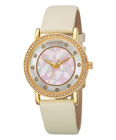 Look at this #zulilyfind! Gold & Mother-of-Pearl Geo Leather-Strap Watch #zulilyfinds