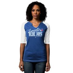 MLB Toronto Blue Jays Majestic Women's Playful Pitch Raglan T-Shirt