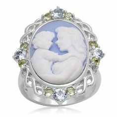 Sterling Silver Blue Topaz, Peridot and Blue Cameo Ring, Size 7 Amazon Curated Collection. $53.00