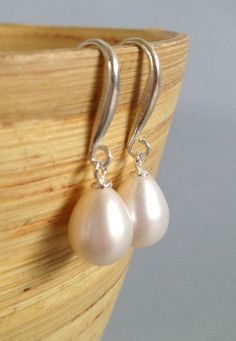 Pearl Earrings pearl wedding jewelry large pearl by AinaKai
