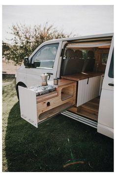 Build A Camper Van, Camper Van Life, Bus Camper, Camper Van Kitchen, Vw Transporter Camper, Mini Camper, Minivan Camper Conversion, Camper Van Conversions, Mercedes Sprinter Camper Conversion