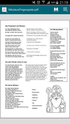 Finger games for Nicholas ☆ - ☆Fingerspiele, Lieder und Co. Kindergarten Portfolio, Kindergarten Projects, Winter Kids, Winter Christmas, Finger Games, Finger Plays, Working With Children, Educational Activities, Preschool