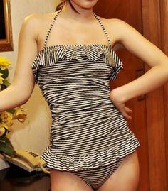 Vintage Halterneck Ruffles Stripe One Piece Women's Swimsuit Swimwear | RoseGal.com Mobile