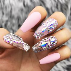 Pink Fearless Silver Swarovski Crystal Nail Press On Nails Perfect Nails, Gorgeous Nails, Bling Nails, My Nails, Nagel Bling, Best Acrylic Nails, Crystal Nails, Glue On Nails, Bridal Nails