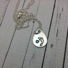Custom Hand Stamped Necklace Baby Feet by MotherDaughterJewel