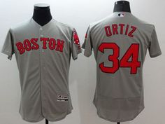red sox 34 david ortiz grey flexbase authentic collection stitched mlb jersey
