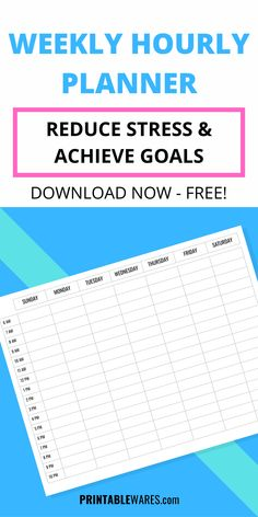 Reduce stress and achieve goals with weekly hourly planner, free printable schedule template. Week doesn't have to be difficult anymore with an undated, minimalist time management agenda. Designed in landscape orientation with Monday and Sunday start to print on A4 and letter size paper. Great for students, hardworking mothers and other busy people. #weeklyplanner #weeklyplannertemplate #weeklyplannerprintable #weeklyplannerideas #weeklyplannerfree Weekly Hourly Planner, Weekly Planner Template, Printable Planner, Free Printables, Letter Size Paper, Planner Organization, Reduce Stress, Stress Free, Time Management