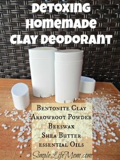 Detoxing Homemade Clay Deodorant 1 Tbsp Bentonite Clay (sub. some kaolin clay for a whiter deodorant) 5 Tbsp Arrowroot Powder 1 tsp Bees Wax 2 Tbsp Coconut Oil 2 tsp Shea Butter drops Essential Oils (more or less depending on the oil and preference) Deodorant Recipes, Homemade Deodorant, Diy Natural Deodorant, Natural Sunscreen, Homemade Clay, Homemade Beauty Products, Natural Products, Body Products, Hair Products