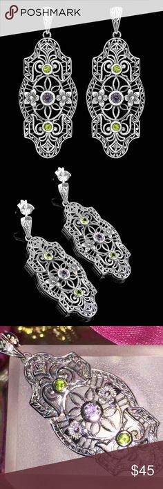 💜RAINBOW TOPAZ➕PERIDOT ART DECO EARRINGS•925 SS💜 💛💜COLOR CHANGING RAINBOW TOPAZ & PERIDOT ART DECO EARRINGS•GENUINE 925 SOLID STERLING SILVER FILIGREE EARRINGS. ITEM IS STAMPED 925. THESE EARRINGS ARE MADE OUT OF AN ORIGINAL VICTORIAN MOULD, FROM THE VICTORIAN ERA, WITH AN INTRICATE FILIGREE DESIGN. AND THEY ARE VERY BEAUTIFUL!!! 💜💛 Jewelry Earrings