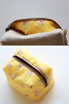 Box Bag Little Boxy Pouch. DIY Sewing Tutorial in pictures. Adjust measurements for a pencil case Box Bag, Zipper Pouch Tutorial, Purse Tutorial, Sewing Tutorials, Bag Tutorials, Diy Bags Purses, Bag Patterns To Sew, Sewing Patterns, Small Sewing Projects