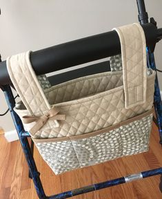 Quilted Marshmallow Walker or Rollator Bag Is Eye Catching! by SewCreativeNook on Etsy Walker Accessories, Wheelchair Accessories, Walker Bag Tutorial, Sewing Hacks, Sewing Crafts, Sewing Tips, Nursing Home Gifts, Double Quilt, Stroller Bag