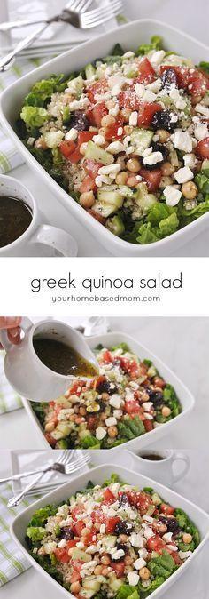Greek Quinoa Salad - delicious! I used fresh basil, oregano, garlic and shallots. Make this!