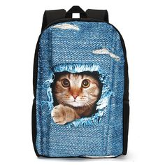 3D Cat Backpack Dog Pattern Denim School Book Bags Travel Bags  Worldwide delivery. Original best quality product for 70% of it's real price. Hurry up, buying it is extra profitable, because we have good production sources. 1 day products dispatch from warehouse. Fast & reliable...