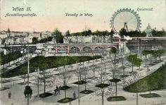 """Um 1900, Ausstellungsstraße, """"Venedig in Wien"""", rechts hinter dem Riesenrad die Rotunde Cover Photos, Vienna, Austria, Paris Skyline, Nostalgia, Louvre, Window, History, Building"""