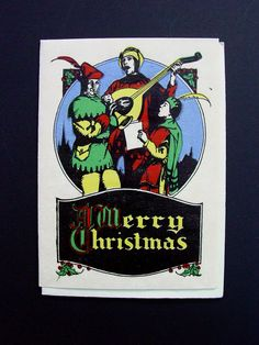 Vintage Unused 1900's Xmas Greeting Card Hand Colored Court Jesters Carolers