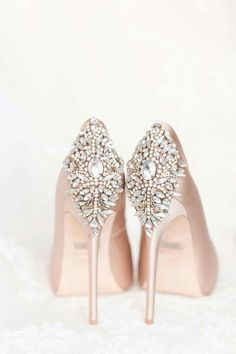 Wedding Day Navy and blush El Chorro wedding. Men in slate blue suits, ladies in blush-lavender chiffon full length gowns. Badgley Mischka Blush pumps for the bride. The perfect wedding day shoes. Pretty Shoes, Beautiful Shoes, Cute Shoes, Me Too Shoes, Gorgeous Heels, Beautiful Bride, Dream Wedding, Wedding Day, Perfect Wedding